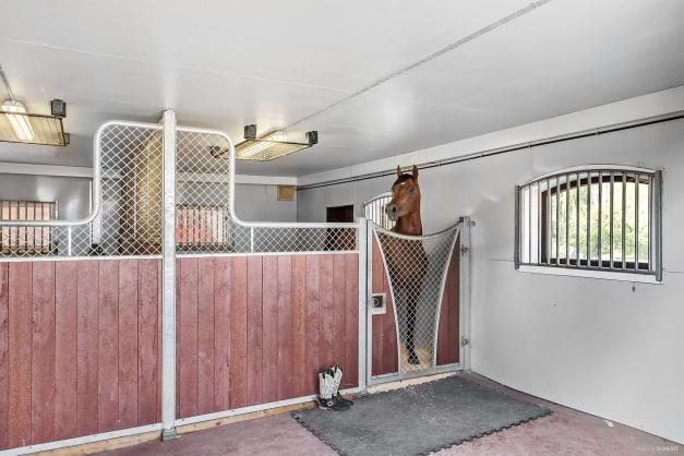 I ladugården är stall med 2 boxar inrett. Lämpligt för hingst-/föl eller isoleringsboxar.