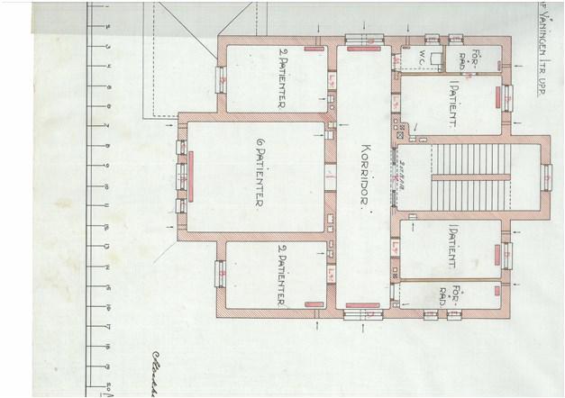 Originalritning våning 2 ifrån början av 1900 talet / ombyggd och tillbyggd till lägenhet idag.