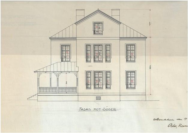 Fasad mot Syd 1900 tal, numera veranda inbyggd med 3 glas aluminium med spröjs
