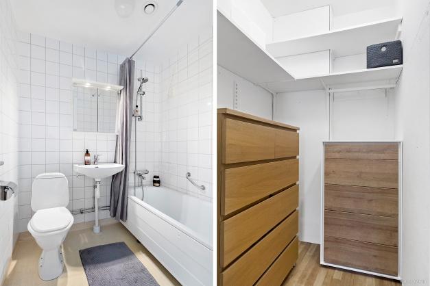 Stamrenoverat badrum och förrådsutrymme i lägenheten.