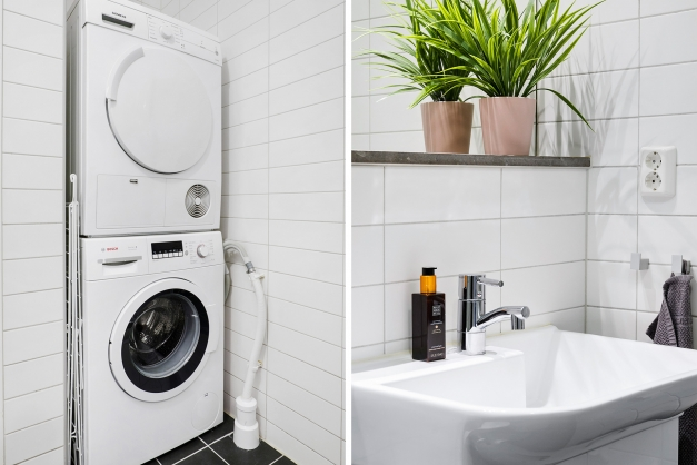 Tvättpelare/handfat med stor spegel ovanför
