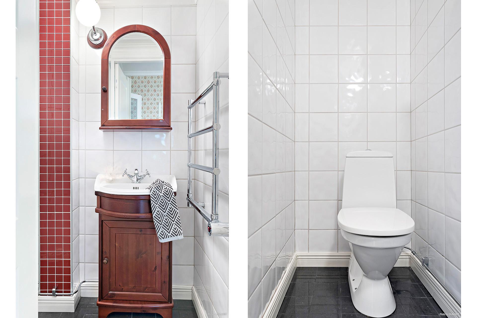 Helkaklad toalett med golvvärme på entréplan