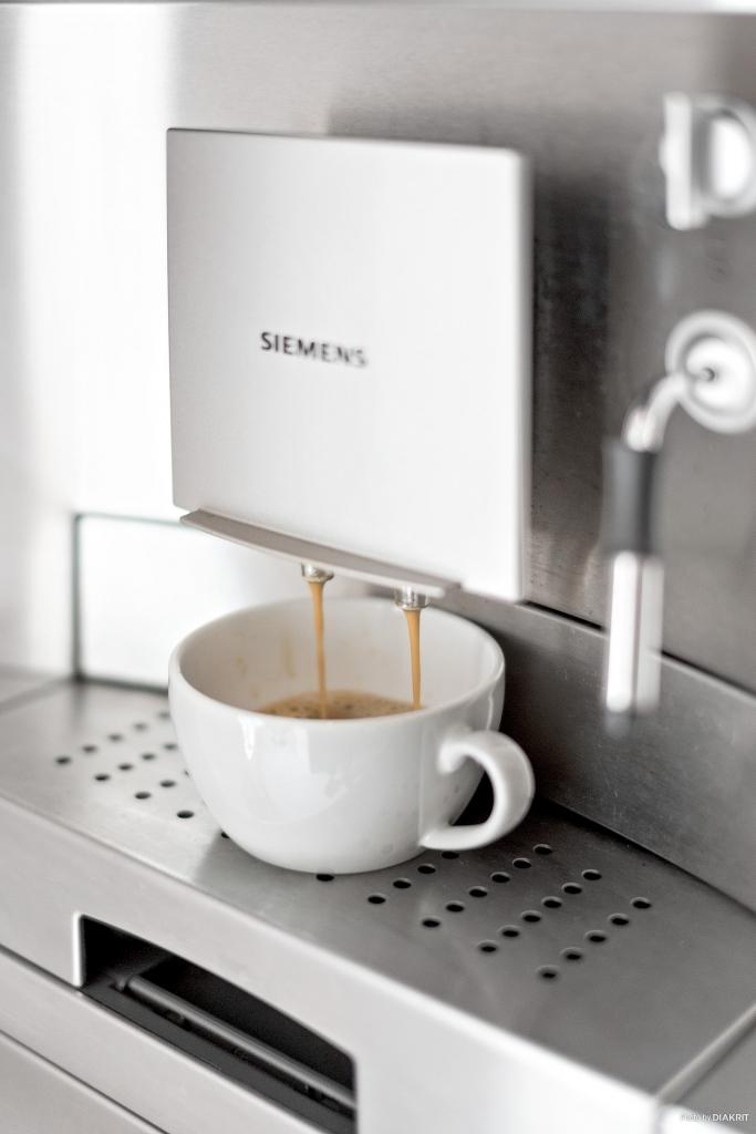 I köket finns en integrerad kaffemaskin.