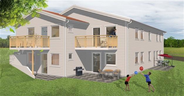 En 3D-bild av hur flerbostadshusen Klädesvägen 2, 4, 7 och 9 kommer att se ut. Eftersom det är en 3D-bild kan avvikelser självklart förekomma.