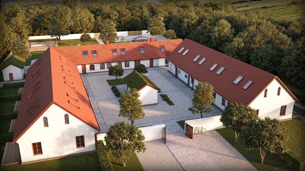 Bild över området med pool, bostäder, parkeringsplats och förråd samt miljöhus