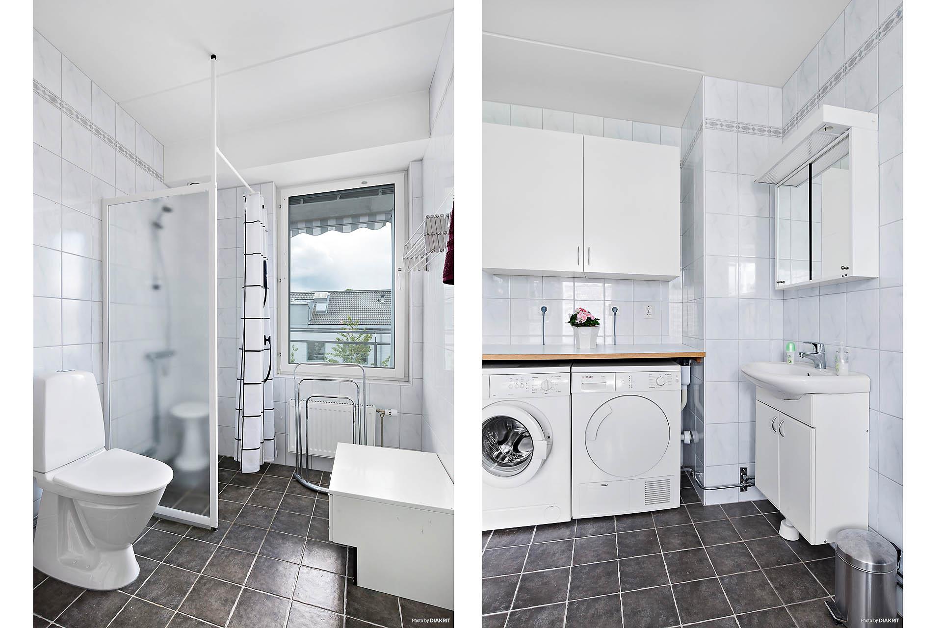 Helkaklat duschrum med golvvärme