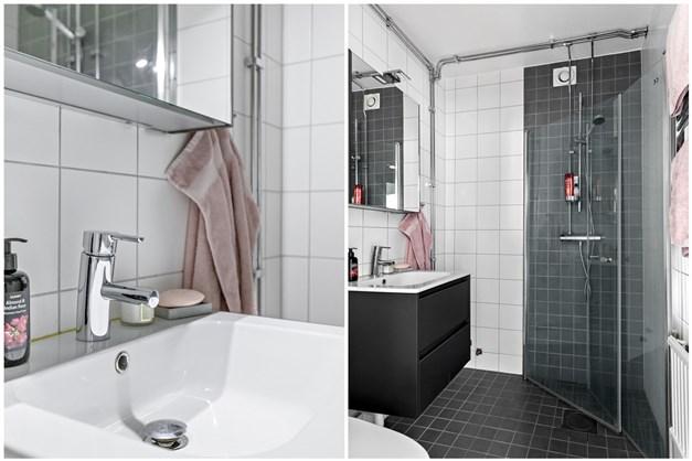 Från hallen når du de helkaklade och fräscha badrummet, som totalrenoverades 2016 av föreningen.