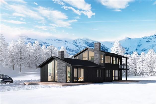 Parhus med två lägenheter, den ena om 65 m², den andra om 135 m².