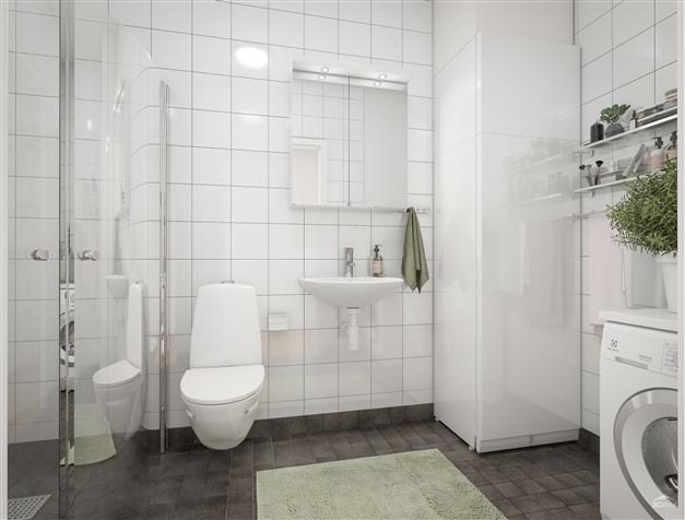 Helkaklat duschrum med eget FTX-aggregat samt kombinerad tvättmaskin och torktumlare
