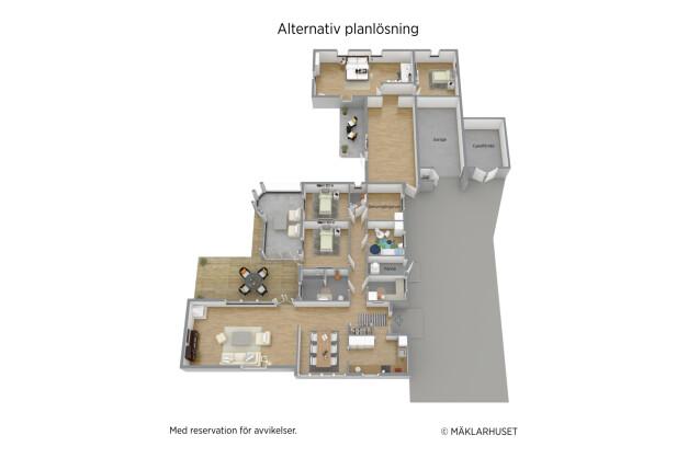 Alternativ planlösning med 5 sovrum