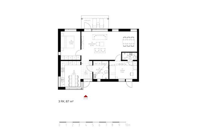 Här har man valt bort sovrum 06 så att det blir ett större vardagsrum.