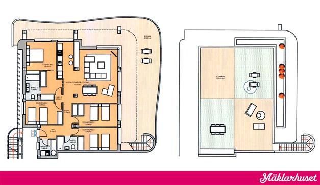 4 sovrum 2 badrum m takterrass