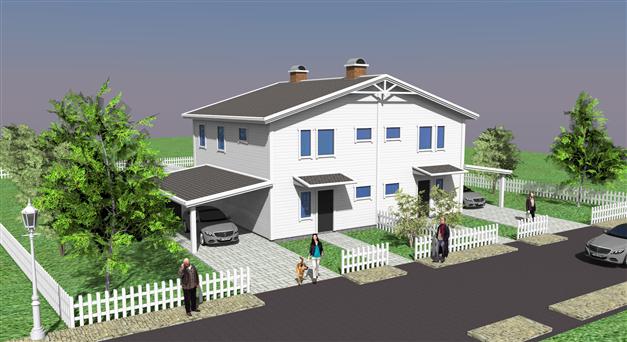Förslag på parhusbyggnad i två plan
