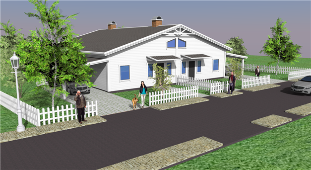 Förslag på parhusbyggnad i ett plan