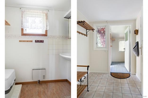 Hall och gästtoalett med portapotti