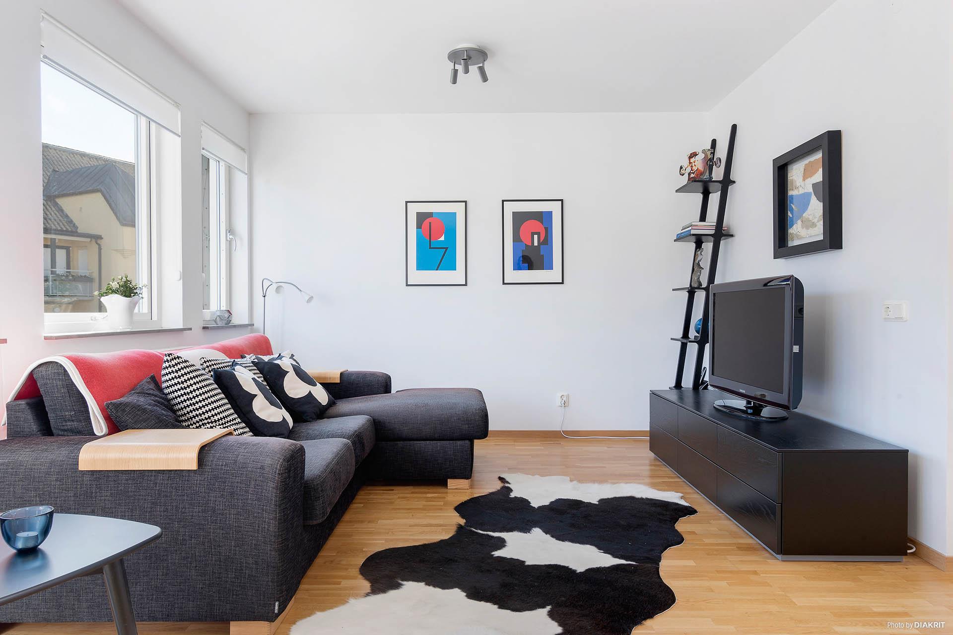 Tv-rum, plan tre (kan göras om till sovrum)