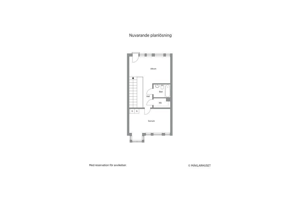 Planskiss 2D - plan 3 (nuvarande planlösning), möjlighet till ytterligare två sovrum finns, se de två alternativa förslagen.