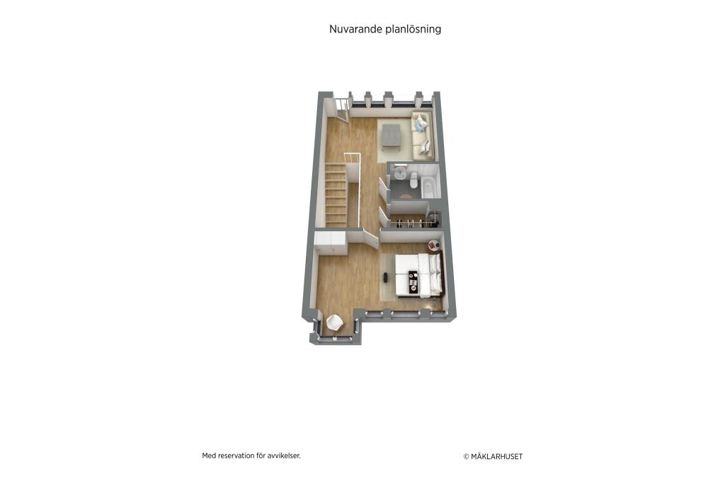 Planskiss 3D - plan 3 (nuvarande planlösning), möjlighet till ytterligare två sovrum finns, se de två alternativa förslagen.