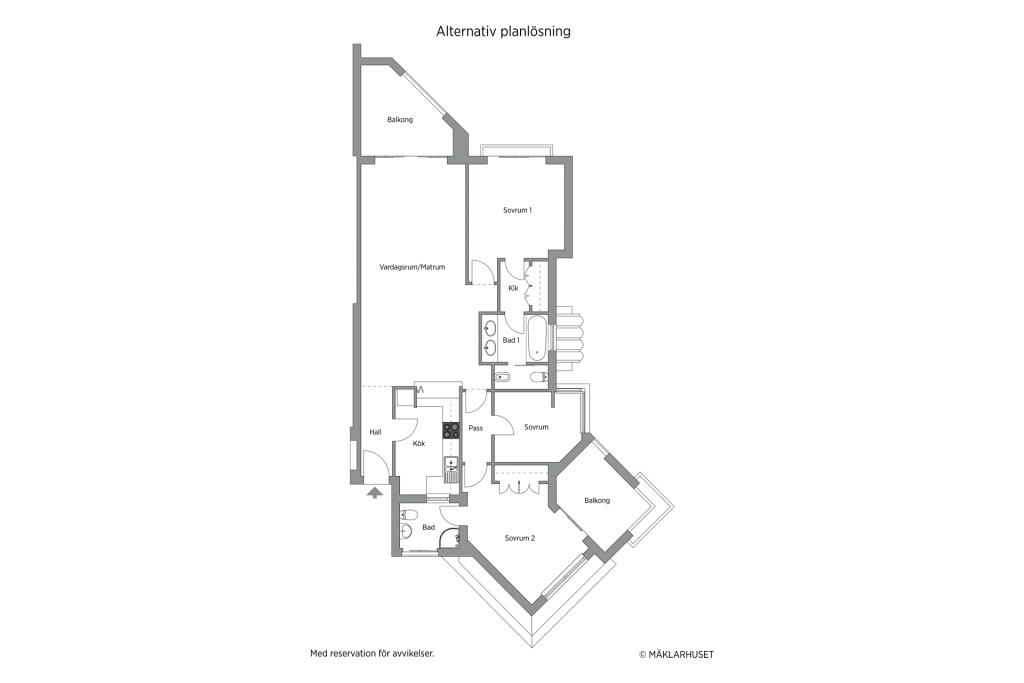 Alternativ planskiss / alternative floor plan / Plano alternativo
