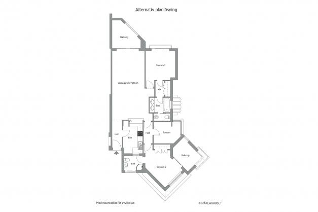 Alternativ planskiss / alternative floor plan / Plano alternativo
