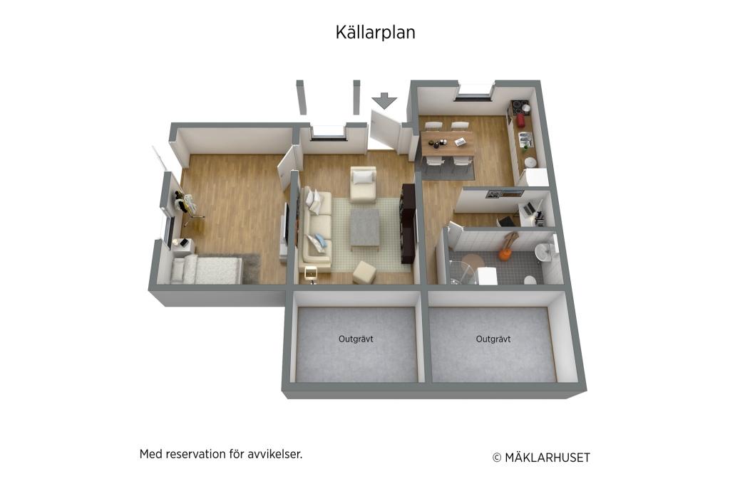 Möbleringsförslag gästlägenhet
