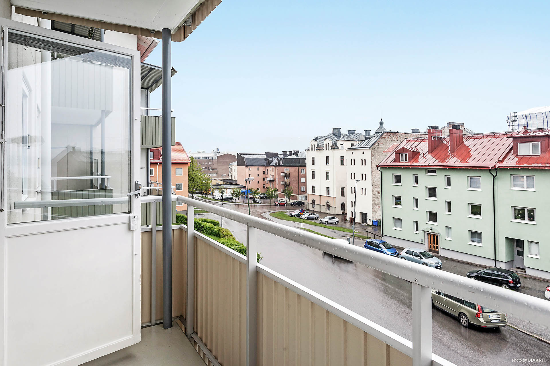 Balkong med utsikt över Bergsgatan