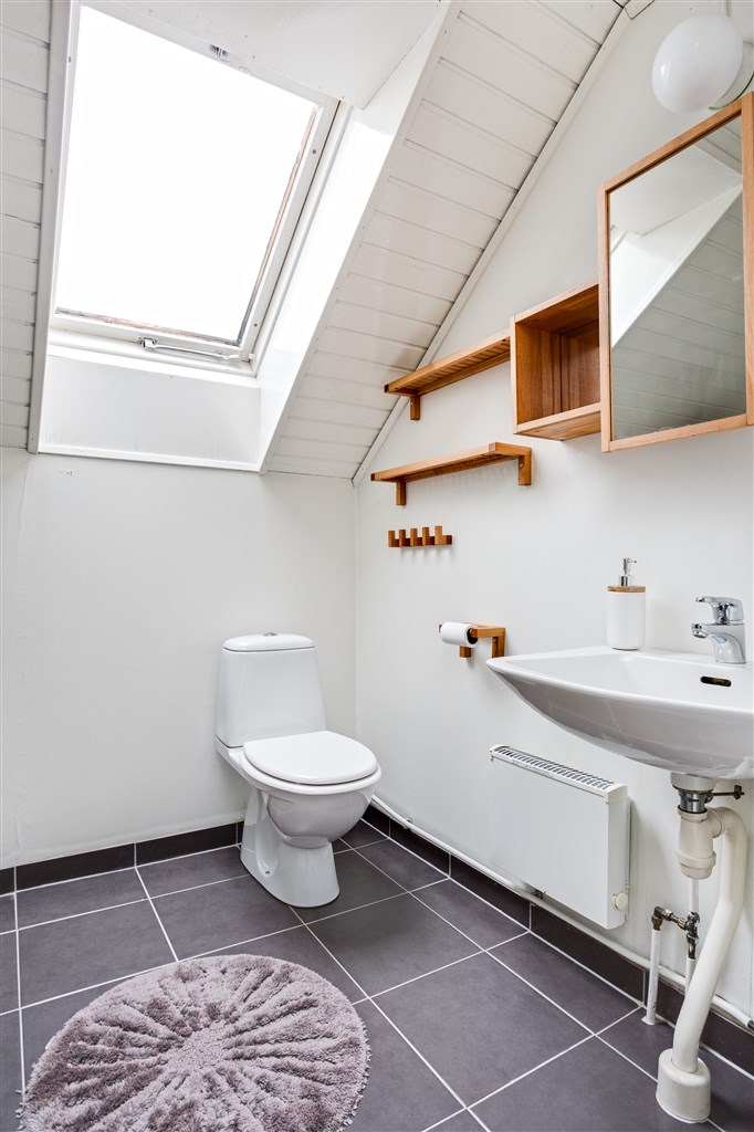 Dusch/wc med takfönster som ger fint ljus.