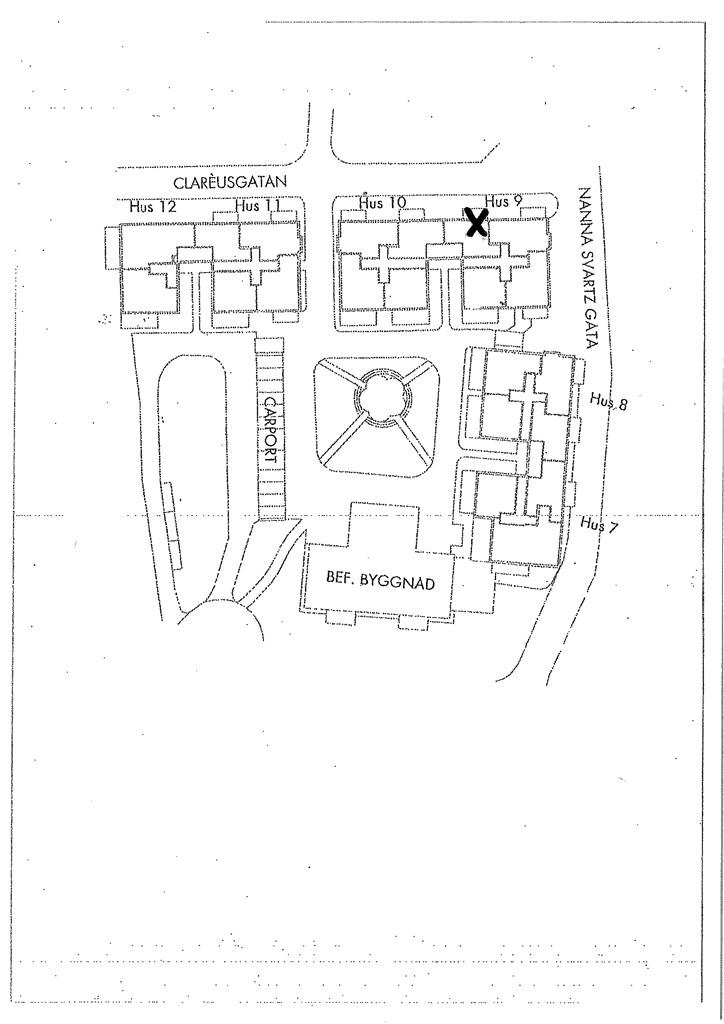 Situationsplan (aktuell bostad markerad med kryss)