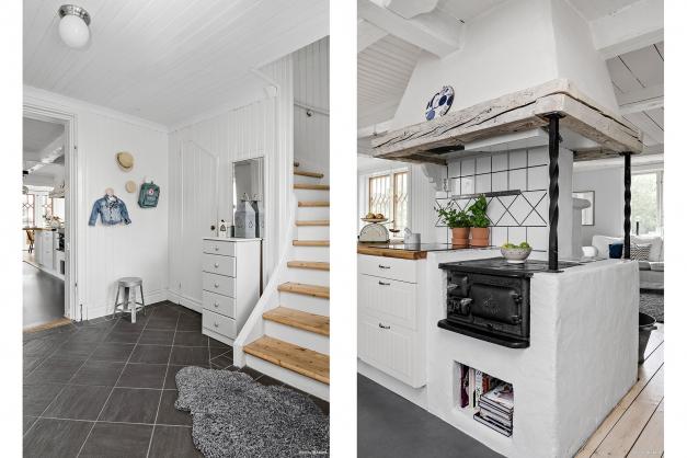 Hall+trappa mot ovanplan / Braskamin
