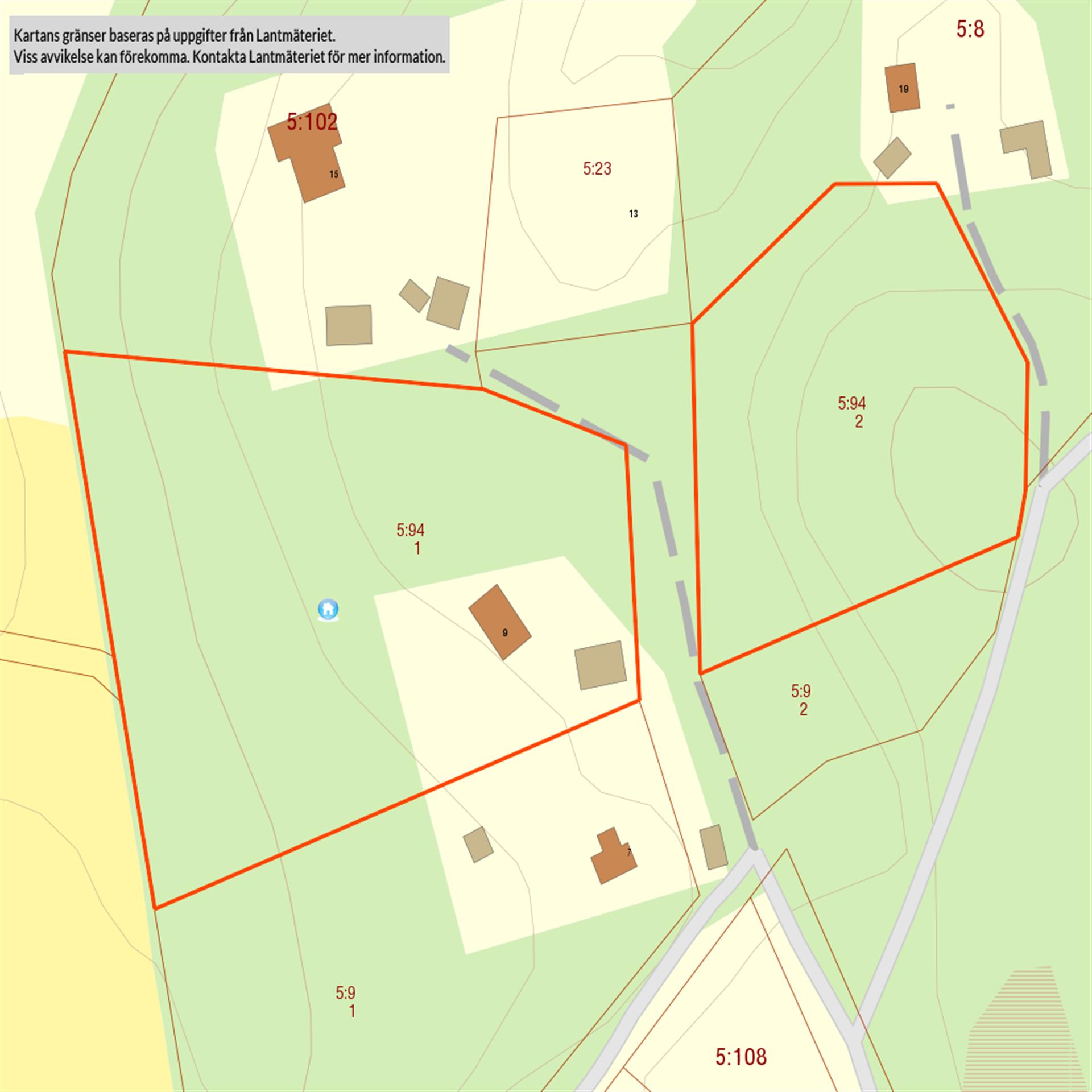 Fastighetskarta innan avstyckning.