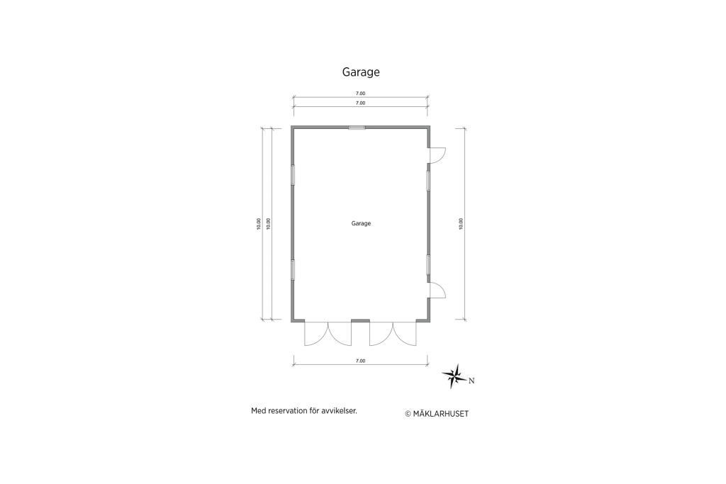 Sidobyggnad med dubbelgarage och förvaringsutrymme.