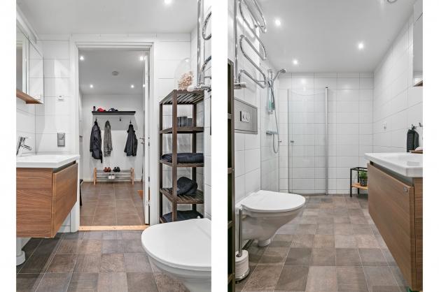 Helkaklat badrum med klinkergolv