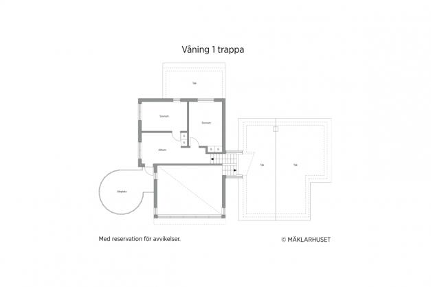 Våning 1 trappa - 2D planritning.