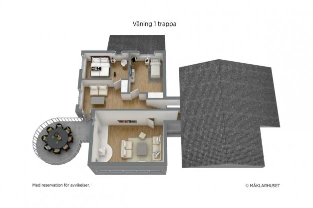Våning 1 trappa - 3D planritning.