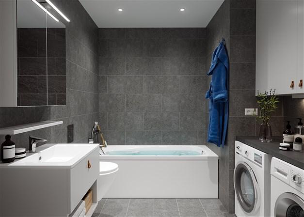 Fräscht och stilfullt badrum från Ballingslöv med gott om fina detaljer, t.ex designad handdukstork, vägghängd toalett och spotlights i taket.