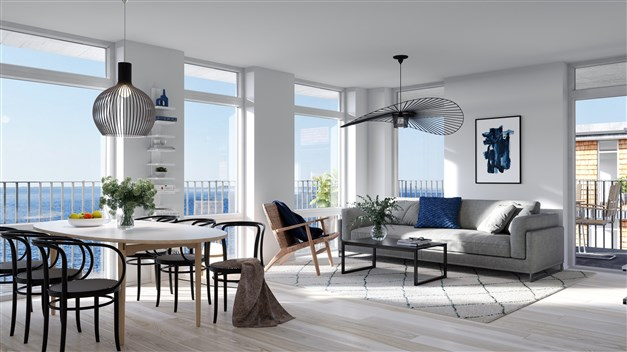 Arkitekten har tagit stor hänsyn till siktlinjerna ut mot vattnet, oavsett vilken sida av huset lägenheten ligger. Alla fönster löper dessutom från golv till tak för att låta ljuset och vyn komma så långt in i bostaden som möjligt.