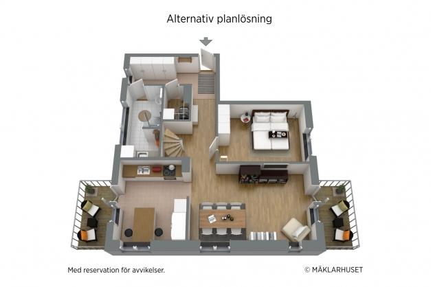 Alternativ planlösning med sovrum på entréplan