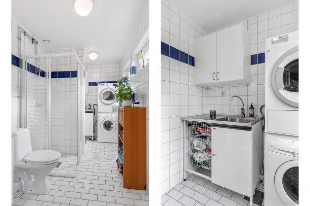 Badrum entréplan med tvättavdelning