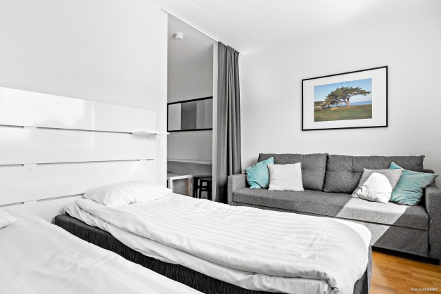 Kombinerat vardagsrum och sovrum