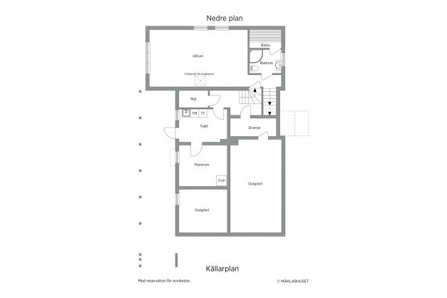 Planlösning nedre plan/källarplan