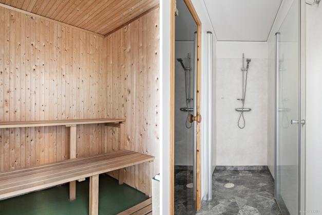 I anslutning till hobbyrummet finns dusch och bastu.