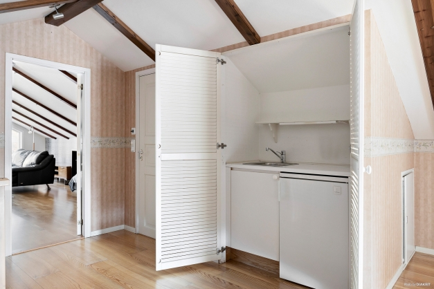 Bakom dörrarna gömmer sig diskho och kyl.