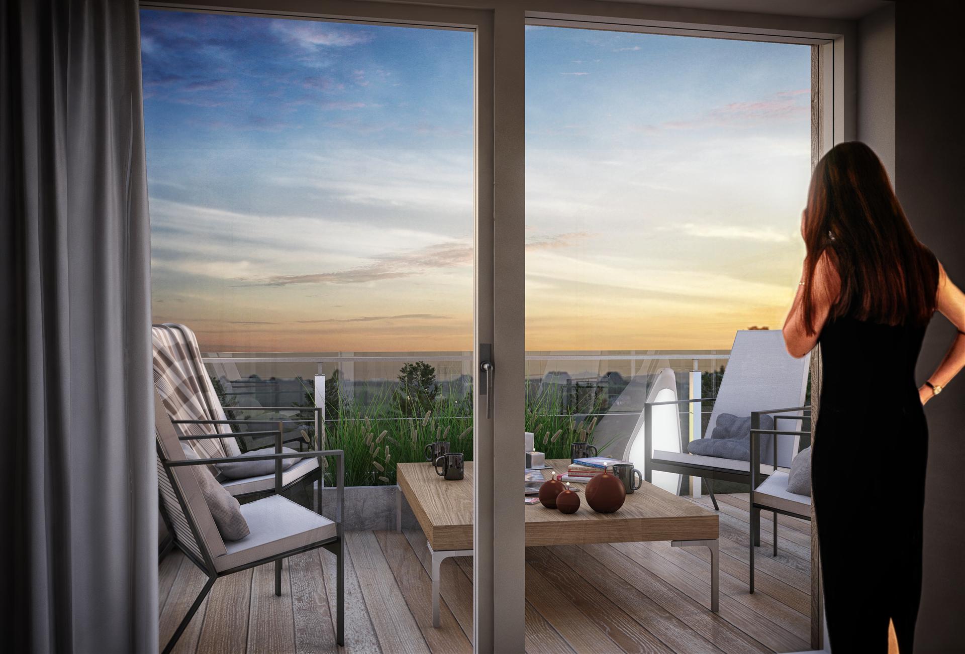 Illustrationsbild, takterrass från vardagsrummet