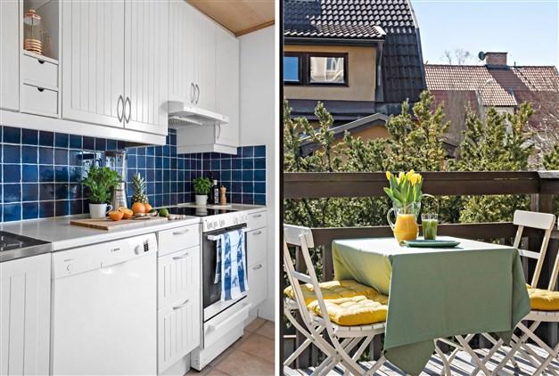 Del av köket. Från köket når man den stora och soliga balkongen