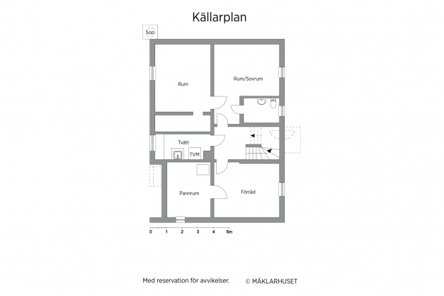 Planritning, källare (avvikelser kan förekomma och skalenlighet garanteras ej)