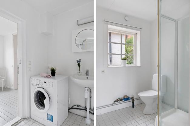 Rymligt badrum med duschkabin