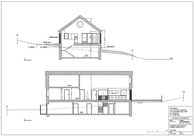 Sektionsritning för det sökta bygglovet