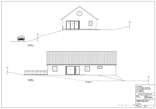 Fasadritning för det sökta bygglovet