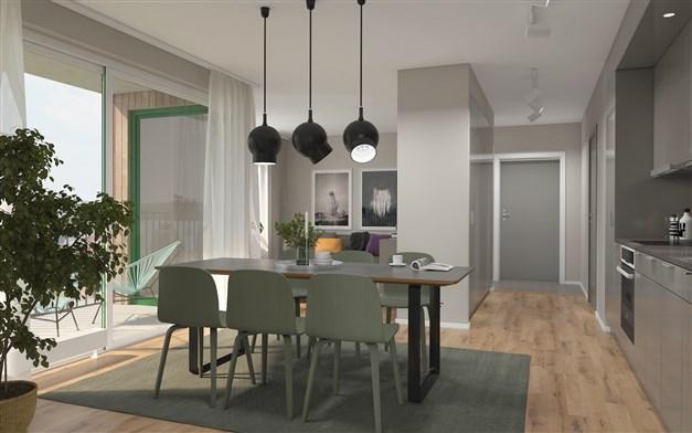 Illustrationsbild från en 3:a med grått kök