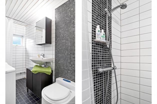 Renoverat badrum med dusch och frystoa